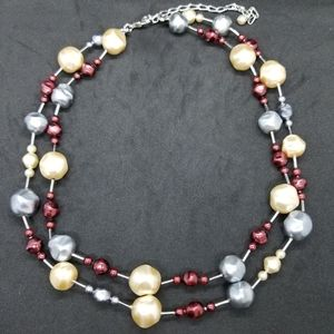 Baroque pearl double-strand necklace